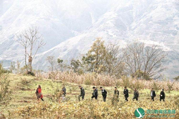 四川省教育厅调研组赴雷波开展扶贫工作调研组查看高山青脆李种植情况